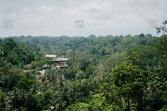 Bali, Indonesia - January 2, 2018: Resort surrounded by palm trees in Bali, Indonesia