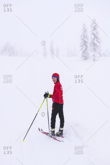 Boy cross-country skiing