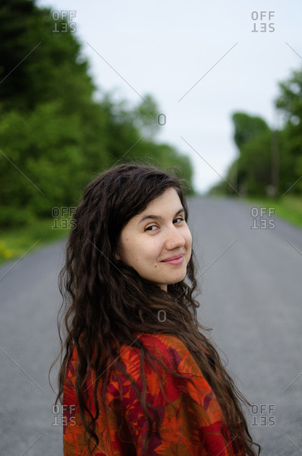 Woman on country road