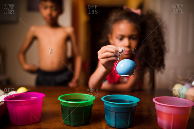 Kids dying Easter eggs - from the Offset Collection