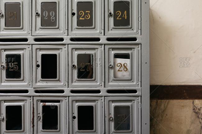 Interior mailbox grid details