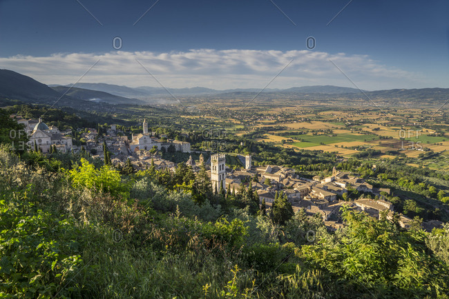 Italy, Umbria, Assisi, view of the town from Rocca Maggiore