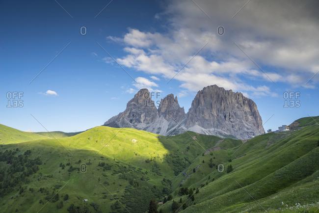 Italy, Trentino Alto Adige, Campitello di Fassa, Passo Sella and Catinaccio Mountain