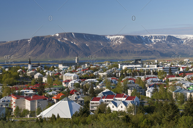 Reykjavik, Iceland - May 31, 2016: Elevated view across Reykjavik, Iceland