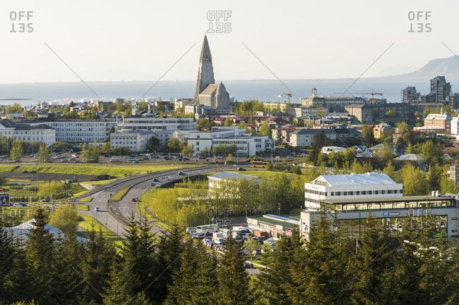 Reykjavik, Iceland - May 31, 2016: View over Reykjavik towards Hallgrimskirkja Church, Reykjavik, Iceland