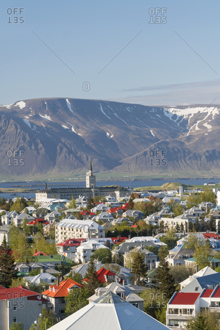 View over Reykjavik in summer Iceland