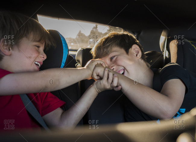 Cheerful brothers playing while travelling in car