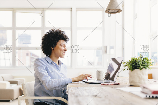 Smiling businesswoman using laptop computer at desk in office