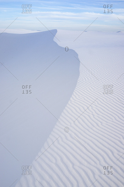 Tranquil view of wave patterns on desert at White Sands National Monument