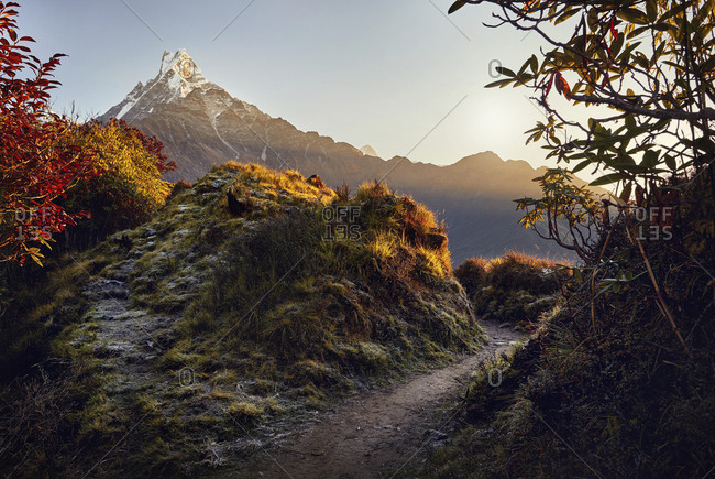 Scenic view of mountains against sky during sunrise at Mardi Himal trek