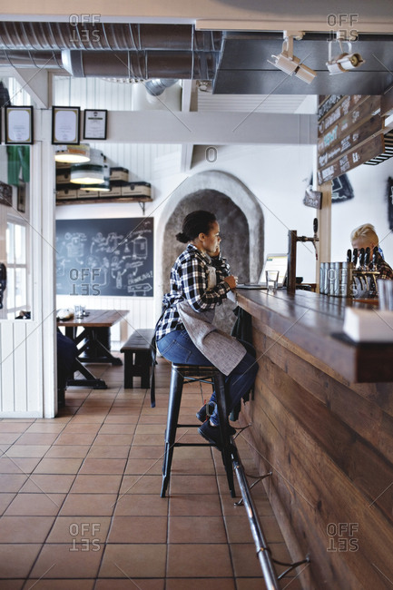 Side view of female bartender using laptop while sitting at bar counter