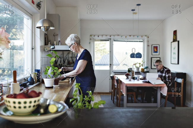 Side view of senior woman watering potted plants on kitchen counter at home
