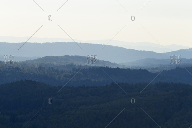 View from Lusen mountain over the Bavarian Forest at Waldhauser in the Bavarian Forest National Park, Bavaria, Germany
