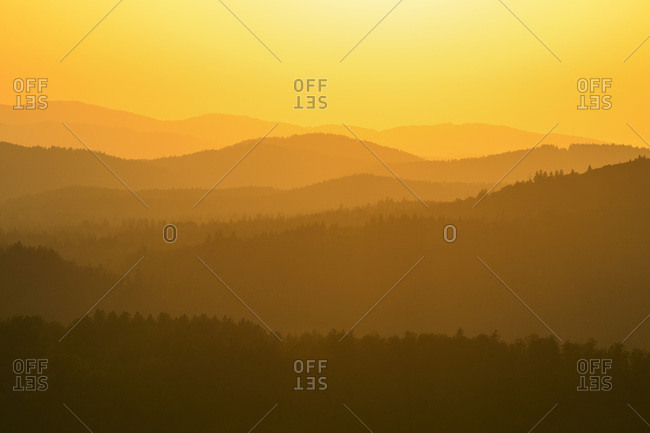 View from Lusen mountain over the Bavarian Forest at Waldhauser at sunset in the Bavarian Forest National Park, Bavaria, Germany