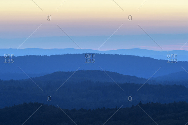 View from Lusen mountain over the Bavarian Forest at sunrise at Waldhauser in the Bavarian Forest National Park, Bavaria, Germany