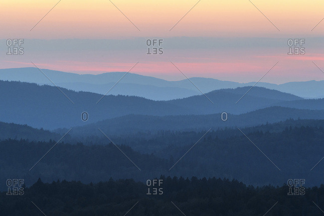 View from Lusen mountain over the Bavarian Forest at sunset at Waldhauser in the Bavarian Forest National Park, Bavaria, Germany