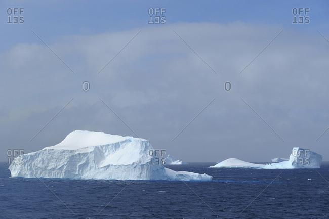 Sunlit icebergs floating in the Antarctic Sound at the Antarctic Peninsula, Antarctica