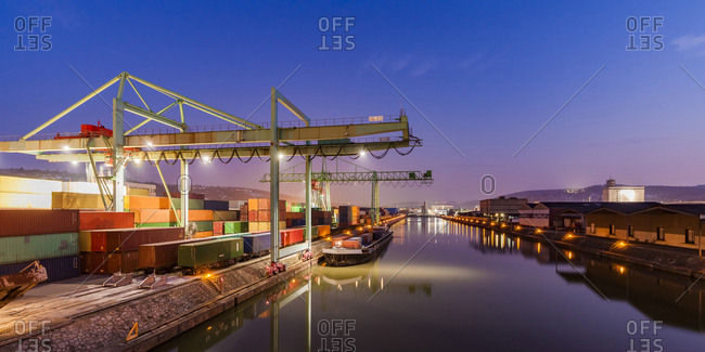 February 21, 2018: Germany- Stuttgart- Neckar- container harbor at blue hour