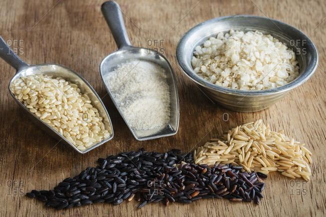 Various sorts of rice and rice products
