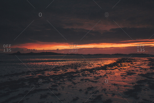 France- Brittany- Landeda- Dunes de Sainte-Marguerite- seascape with beach at dusk