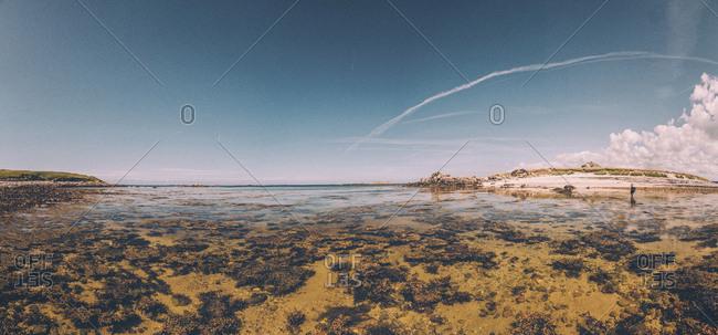 France- Brittany- Landeda- Dunes de Sainte-Marguerite- seascape with woman in background