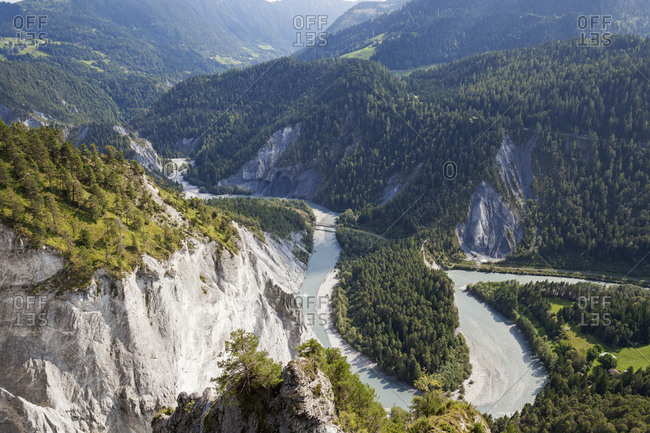 Switzerland- Grisons- Rhine river and Ruinaulta- Anterior Rhine