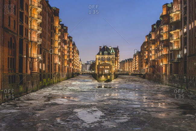 Germany- Hamburg- Speicherstadt- Water Castle- Elbe river and drift ice in winter