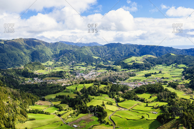 Azores- Sao Miguel- Landscape of the city of Furnas
