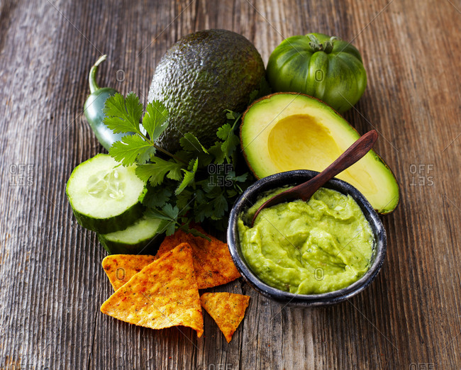 Bowl of Guacamole- ingredients and tortilla chips