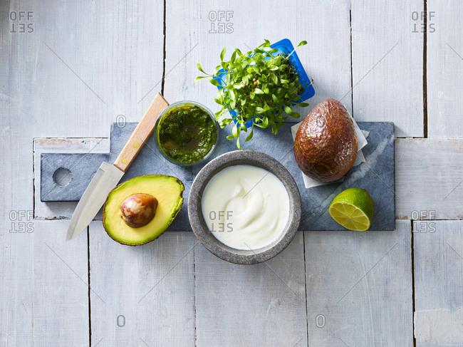 Ingredients of cream of avocado soup