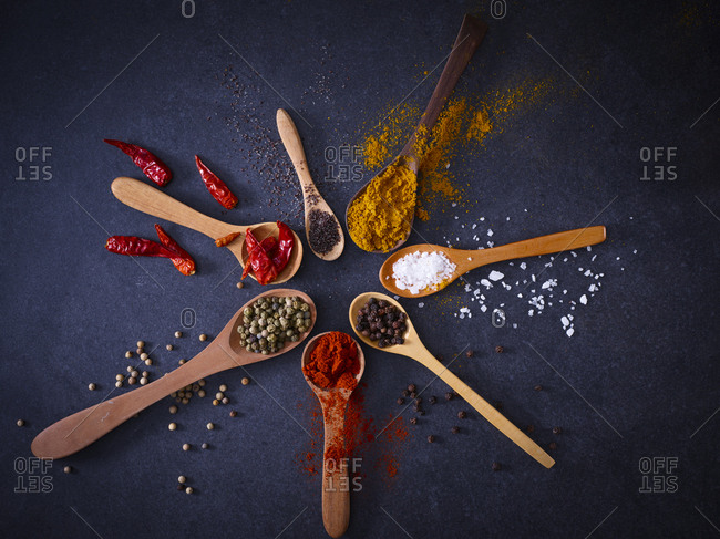 Variety of spices on wooden spoons