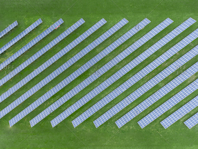 Germany- Bavaria- aerial view of solar panels