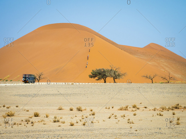 Africa- Namibia- Namib desert- Naukluft National Park- Sossusvlei- Dune 45 and tourists