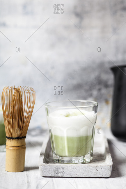 Matcha Latte in tea glass- chasen