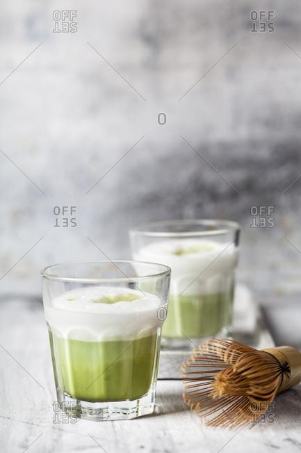 Matcha Latte in tea glasses- chasen