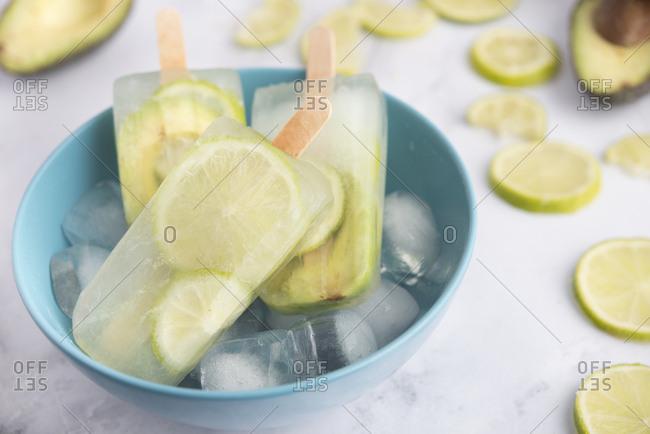 Avocado lime popsicles