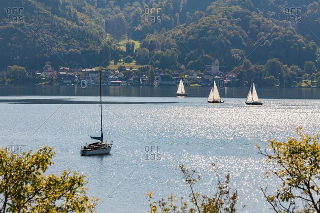 Germany- Baden-Wuerttemberg- Lake Constance- Lake Ueberlingen- Bodman-Ludwigshafen- Bodman- Sailing boats