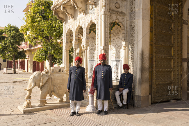 Jaipur, India - June 29, 2012: Guards outside of the City Palace, Jaipur, India