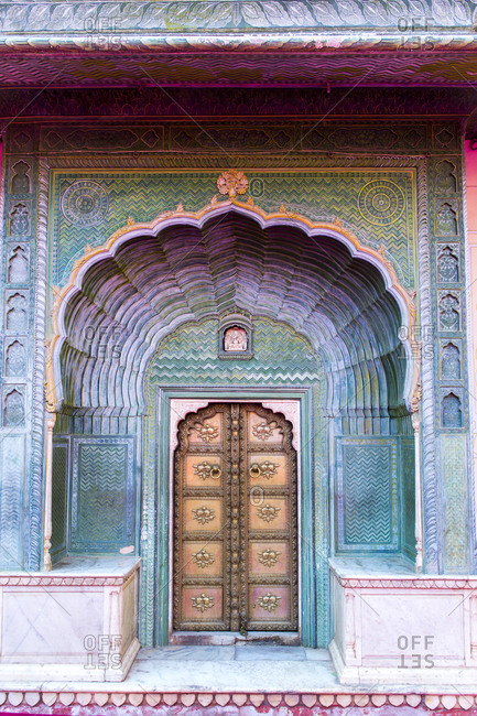 Jaipur, India - 1 July, 2012: The Green Gate at the City Palace of Jaipur