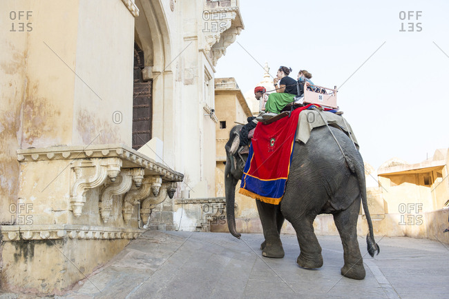 Jaipur, India - 1 July, 2012: Elephant carrying tourists striding through arch at Amber Fort