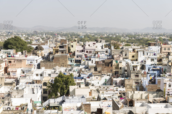 Udaipur, India - 3 July, 2012: Looking out over jumble of rooftops