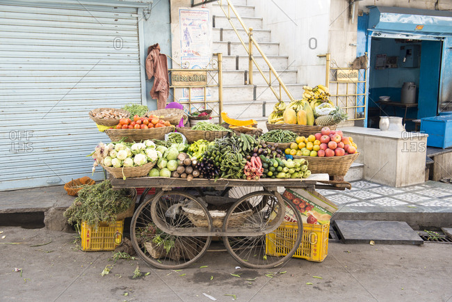 Udaipur, India - 5 July, 2012: Untended vegetable cart in the market