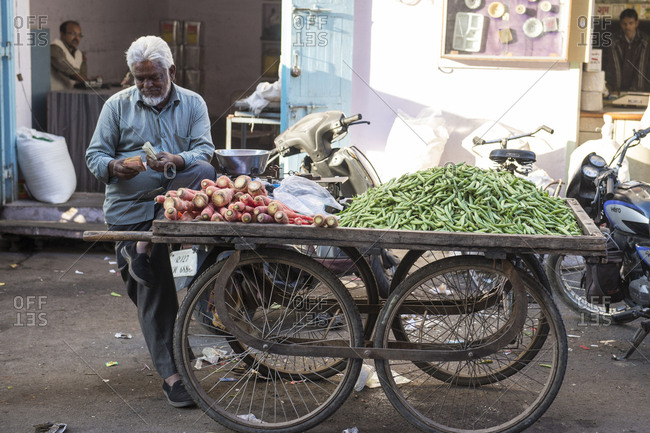 Udaipur, India - 9 July, 2012: Vendor counting his money while leaning on vegetable cart