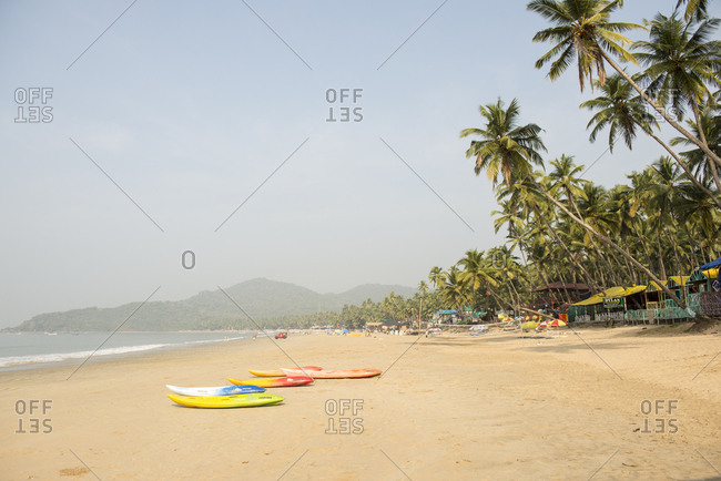 Goa, India - 28 July, 2012: Bars and restaurants line the beautiful Palolem Beach