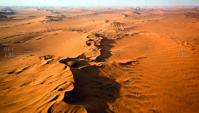 View of high sand dunes in the Namib-Naukluft National Park from above, Namibia