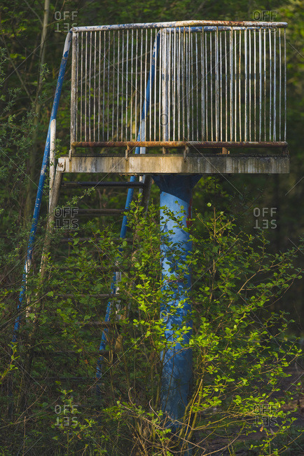 Overgrown diving board with staircase in outdoor swimming pool