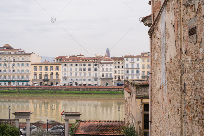 Florence, Italy - April 12, 2018: Exterior of historic buildings along the Arno River