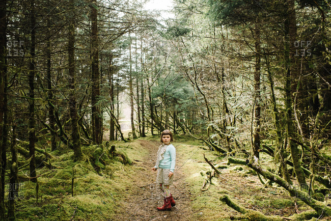 Girl standing on a hiking trail in the forest on Kodiak Island