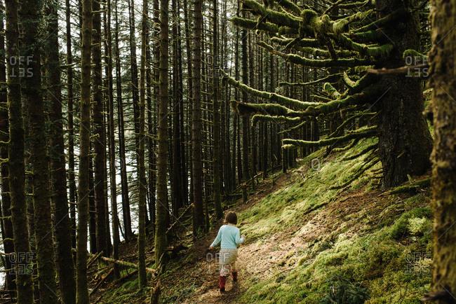 Girl hiking on a trail through the forest on Kodiak Island