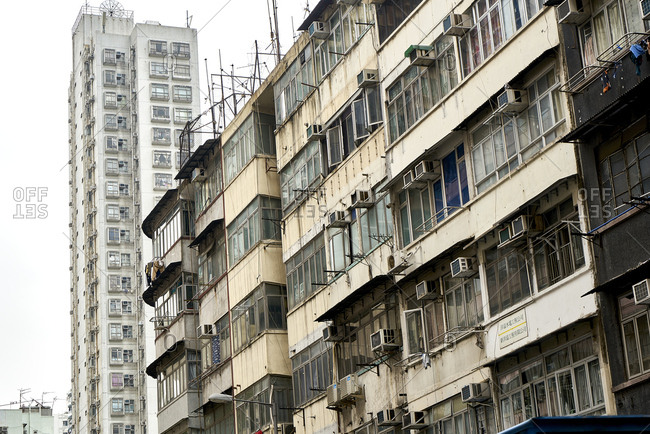 Hong Kong, China - February 1, 2018: Old tenement buildings